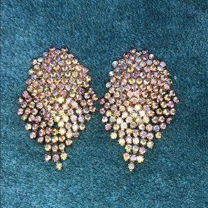 1950s style rainbow rhinestone earrings